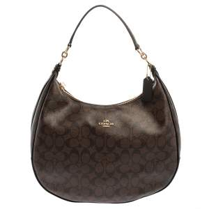 Coach Brown/Black Signature Coated Canvas and Leather Harley Hobo