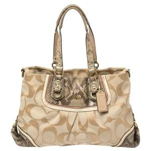 Coach Beige Signature Canvas And Python Embossed Leather Ashley Tote