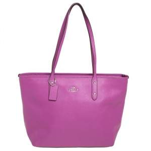 Coach Purple Pebbled Leather Town Tote