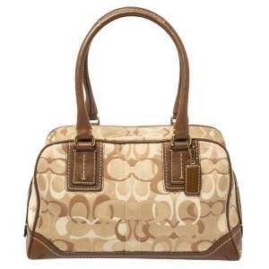 Coach Beige/Brown Signature Canvas and Leather Satchel