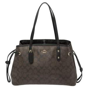 Coach Dark Brown Signature Coated Canvas and Leather Drawstring Carryall Satchel