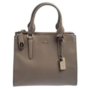 Coach Grey Leather Crosby Carryall Double Zip Tote