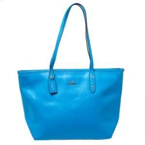 حقيبة يد كوتش سيتي سحاب جلد أزرق