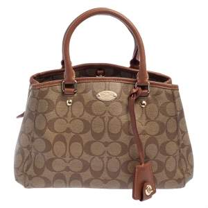 Coach Beige/Brown Signature Coated Canvas and Leather Margot Satchel