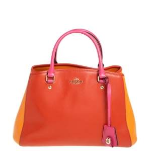 Coach Tri Color Grained Leather Sage Carryall Satchel