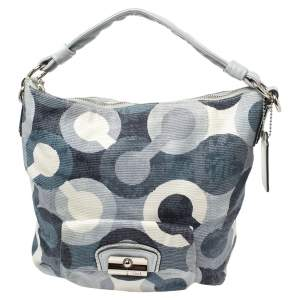 Coach Blue/White Op Art Canvas and Leather Kristin Hobo