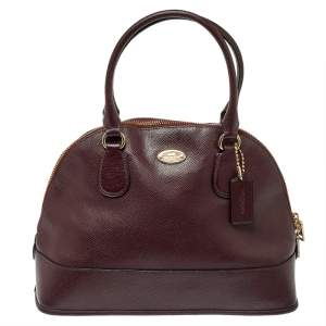 Coach Burgundy Leather Cora Dome Satchel