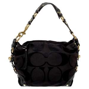 Coach Black Signature Canvas and Leather Carly Hobo