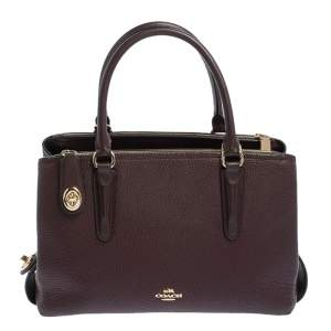 Coach Plum Leather Brooklyn Carryall Satchel