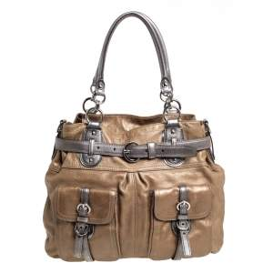 Coach Metallic Beige/Grey Leather Belted Buckle Shoulder Bag