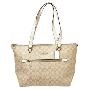 Coach Beige/White Signature Coated Canvas and Leather Gallery Tote