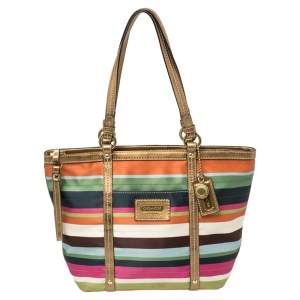 Coach Multicolor Satin and Leather Striped Legacy Tote