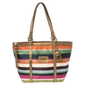 حقيبة يد كوتش ليغاسي مخططة جلد و ساتان متعدد الألوان