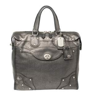Coach Metallic Grey Textured Leather Rider 33 Satchel