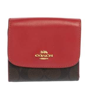 Coach Red/brown Signature Coated Canvas and Leather Flap Compact Wallet