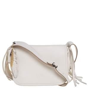 حقيبة كروس كوتش داكوتا حياكة بسلسلة جلد أبيض