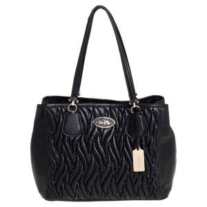 Coach Black Gathered Leather Kitt Carryall Tote