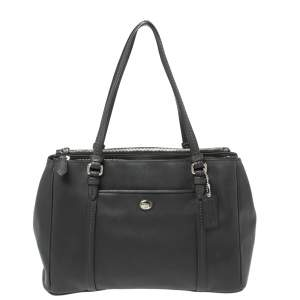 Coach Black Leather Peyton Double Zipper Tote