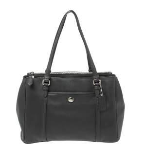 حقيبة كوتش بايتون جلد أسود بسحاب مزدوج