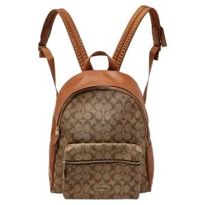 Coach Brown Signature Canvas Charlie Backpack