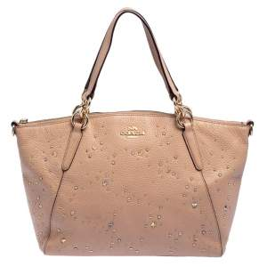 Coach Beige Grained Leather Kelsey Satchel