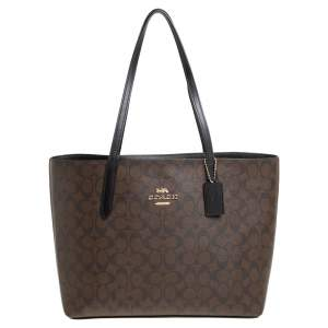 Coach Brown/Black Signature Coated Canvas Avenue Tote