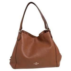 Coach Brown Pebbled Leather Edie 31 Shoulder Bag