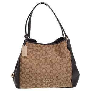 Coach Beige/Brown Signature Canvas and Leather Edie 31 Shoulder Bag