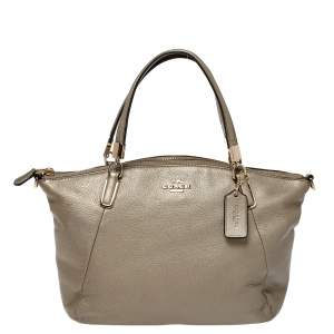 Coach Metallic Beige Leather Small Kelsey Satchel