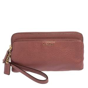 Coach Pale Pink Leather Wristlet Pouch