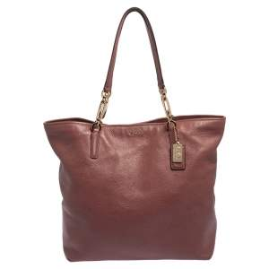 Coach Pink Leather Madison North South Chain Tote