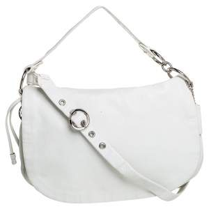Coach White Leather Ali Flap Hobo