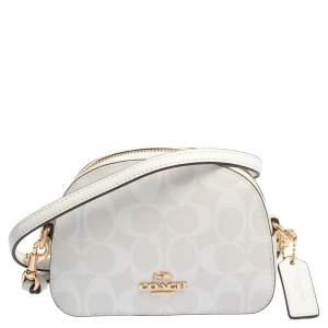 Coach White Signature Coated Canvas Mini Serena Crossbody Bag