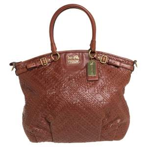 Coach Brown Leather Criss Cross Madison Satchel
