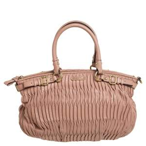 Coach Beige Pleated Leather Sophia Madison Satchel