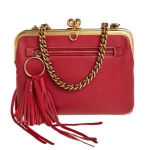 Coach Red/Plum Horse Embossed Leather Kisslock Shoulder Bag