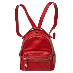 Coach Red Pebbled Leather Charlie Backpack