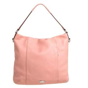 Coach Salmon Pink Grained Leather Front Pocket Hobo