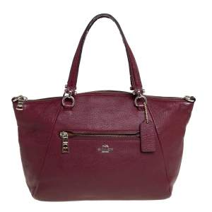 Coach Wine Red Pebbled Leather Prairie Satchel