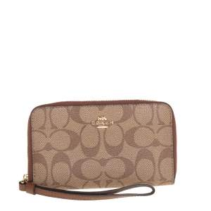 Coach Brown Signature Coated Canvas Wristlet Wallet