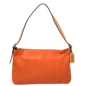 Coach Orange/Beige Leather Zip Slim Shoulder Bag