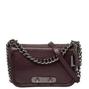 Coach Burgundy Leather Swagger Shoulder Bag