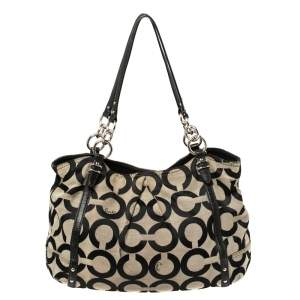 Coach Black Op Art Canvas and Leather Alexandre Hobo
