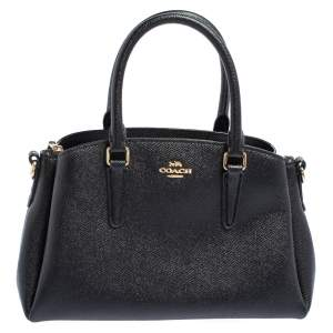 Coach Black Grained Leather Sage Carryall Satchel