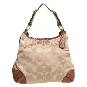 Coach Beige/Brown Signature Fabric and Snakeskin Embossed Leather Peyton Hobo