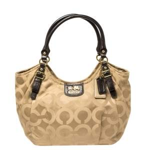 Coach Beige/Brown Op Art Signature Canvas and Leather Madison Abigail Tote