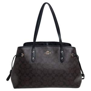 Coach Dark Brown/Black Signature Coated Canvas and Leather Drawstring Carryall Satchel