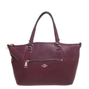 Coach Burgundy Pebble Leather Prairie Satchel