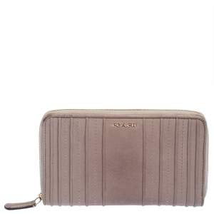 Coach Pale Pink Leather Zip Around Wallet