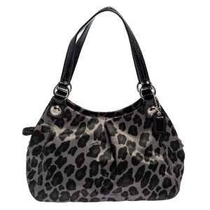 Coach Olive Green/Black Satin Mini Mia Maggie Ocelot Bag